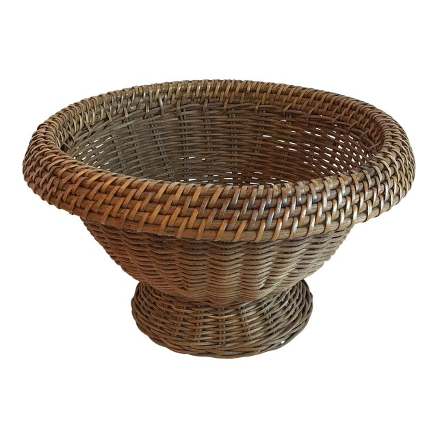 Vintage Mid Century Natural Wicker Planter For Sale
