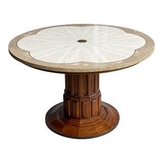 1970s John Widdicomb Walnut and Travertine Center Table For Sale