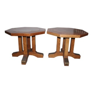 1980 Traditional Oak Octangonal Shaped End Tables - a Pair