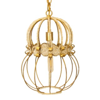 Hollywood Regency Beaded & Brass Light Fixture For Sale
