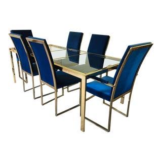 Milo Baughman Style Adjustable Brass Dining Set For Sale