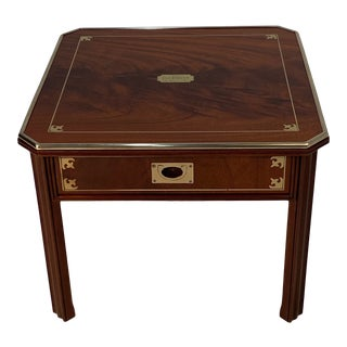 English Mahogany and Brass Campaign Style End Table For Sale