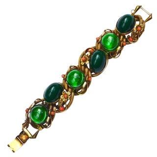 50s Glass Nouveau Revival Bracelet / Selro For Sale