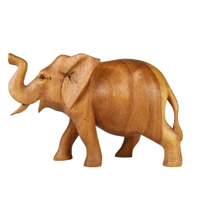 Wood Vintage Hand Carved Wooden Elephant Figurine For Sale - Image 7 of 7