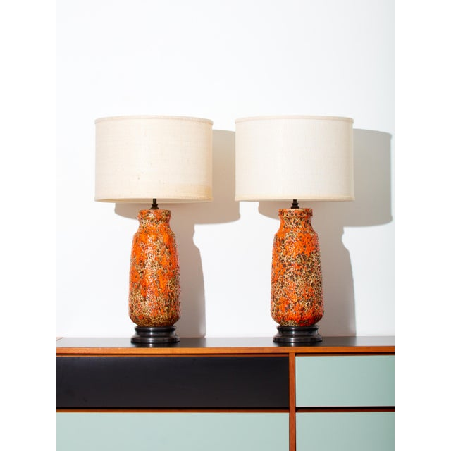 1960s Mid-Century Orange Glaze Ceramic Lamps - a Pair For Sale - Image 5 of 5