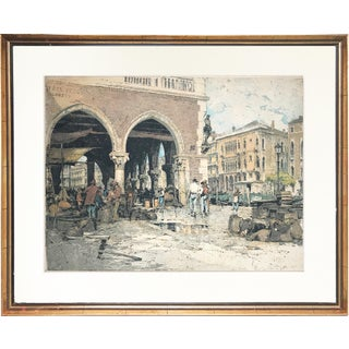 """Venice Fish Market"" Etching W/ Aquatint by Luigi Kasimir For Sale"