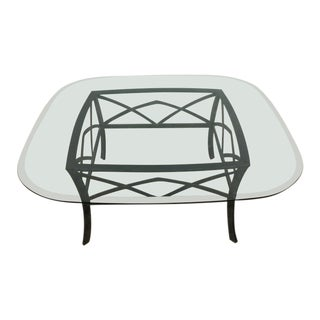 Contemporary Glass Topped Metal Coffee Table