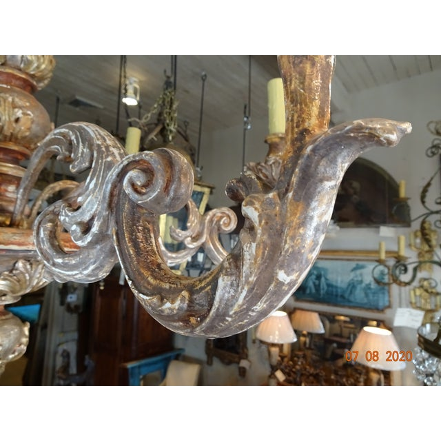 Mid-Century Italian Carved Wood Chandelier For Sale - Image 10 of 13
