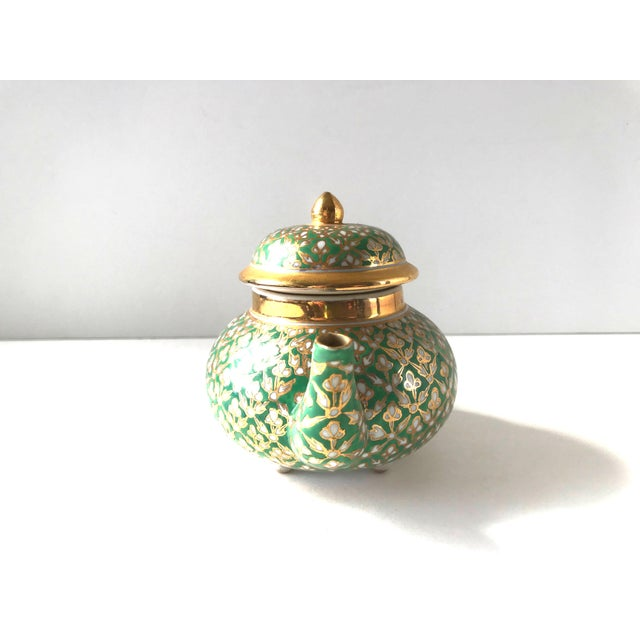 Antique Old Paris Porcelain Green and Gold Teapot For Sale - Image 4 of 10