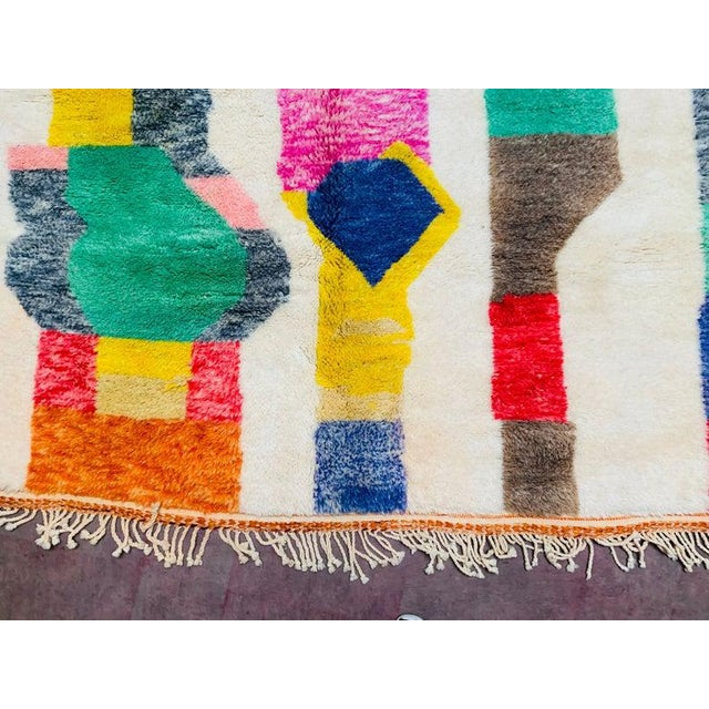 This is authentic Large white Moroccan rug The Berber women who weave this Beni ourain Mrirt rug use a language of simple...