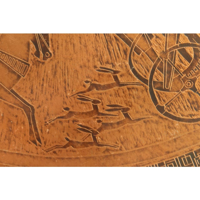 Black 20th Century Egyptian Copperstyle Engraved Top Center Table For Sale - Image 8 of 11