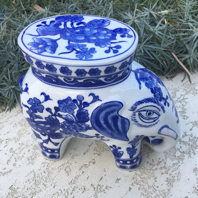 Blue & White Chinoiserie Ceramic Elephant Stand - Image 7 of 8