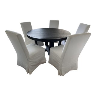 Transitional Restoration Hardware Dining Table Set - 6 Pieces For Sale