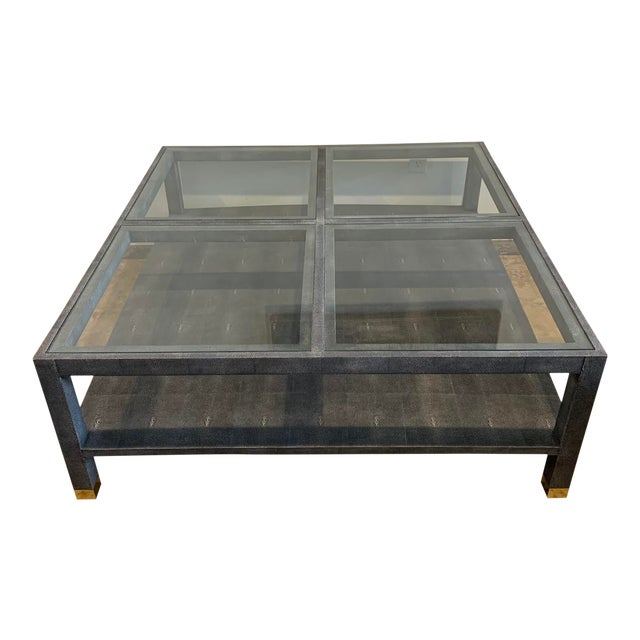 Made Goods Large Square Faux Shagreen Coffee Table For Sale