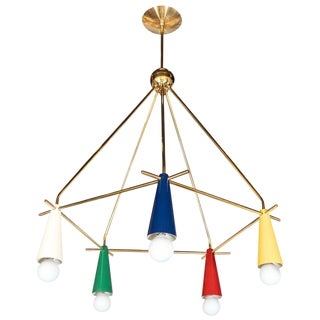 Mid-Century Modern Italian Brass and Polychrome Enamel Chandelier For Sale