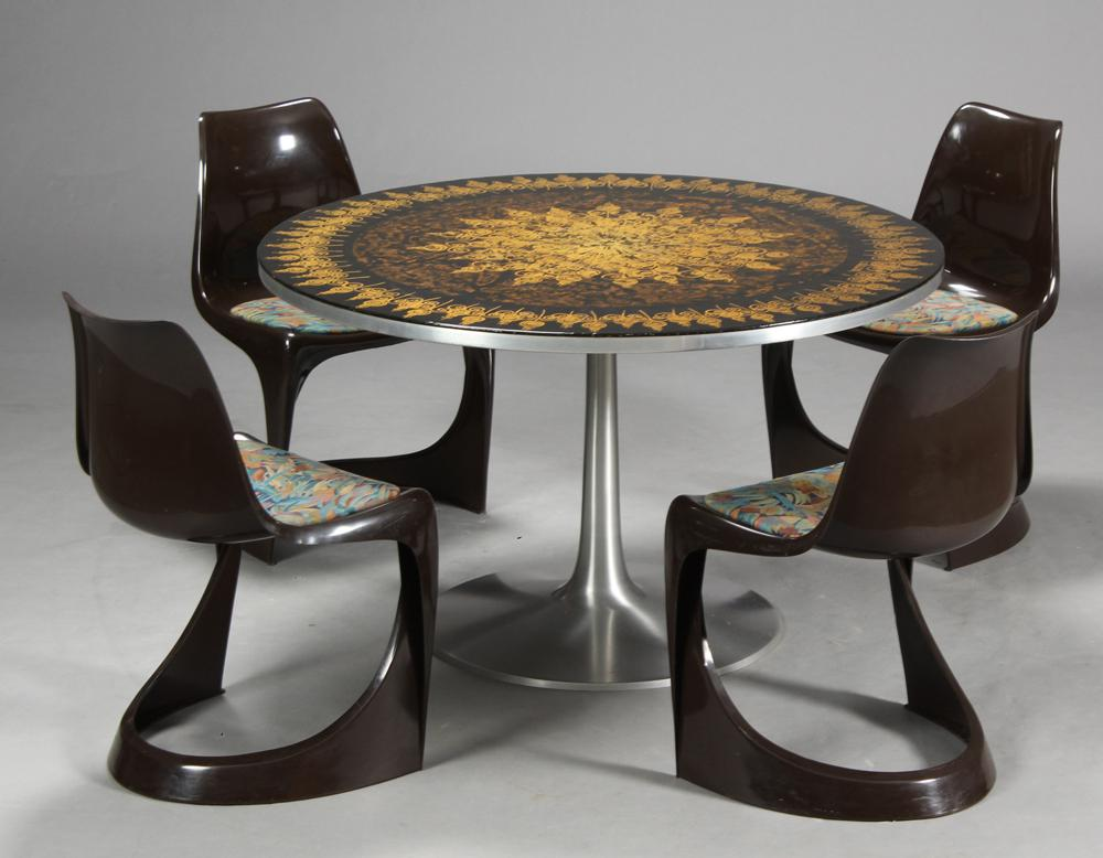 Poul Cadovius 1960s Dining Table In Aluminum And Matching Plastic Dining  Chairs   Image 2 Of