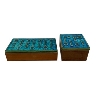 Jonathan Adler Turquoise Tile Brutalist Boxes - a Pair For Sale