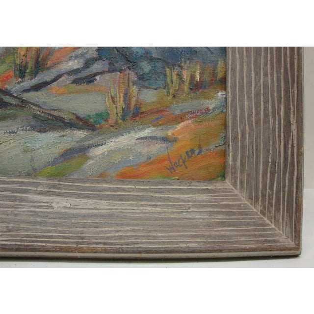 Large Midcentury Mountain Landscape Oil Painting For Sale - Image 4 of 6