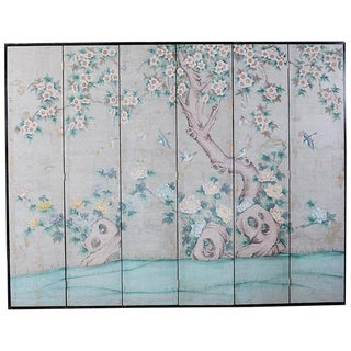 Chinoiserie Painted Silver Leaf Six-Panel Wallpaper Screen For Sale