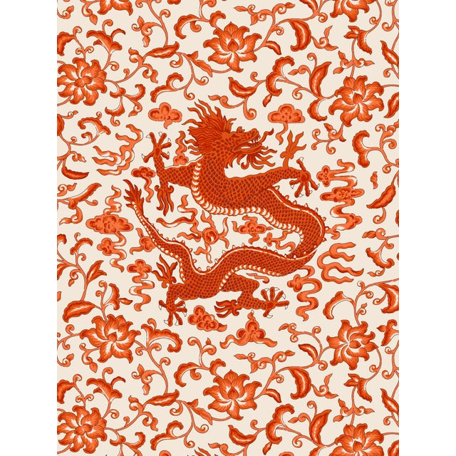 Transitional Red by Scalamandre Peel & Stick Wallpaper, Chi'en Dragon, Persimmon For Sale - Image 3 of 3