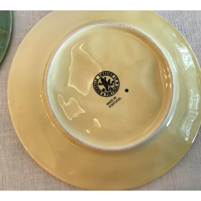 Green Mid-Century Modern Portuguese Green and Yellow Ceramic Fruit Plates - Set of 3 For Sale - Image 8 of 11