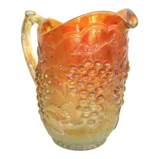Imperial Grape Style Carnival Glass Marigold Water Lemonade Pitcher For Sale