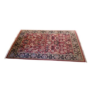 Handwoven Arts & Crafts Style Wool Area Rug - 6′1″ × 8′10″ For Sale
