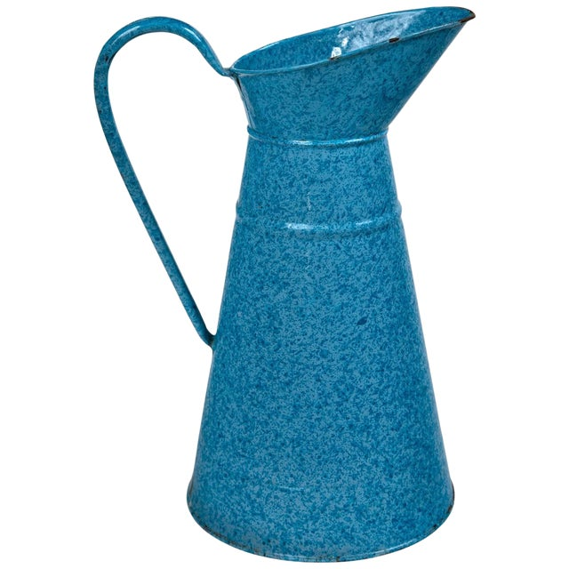 Vintage French Enamelware Pitcher, Circa 1920 For Sale