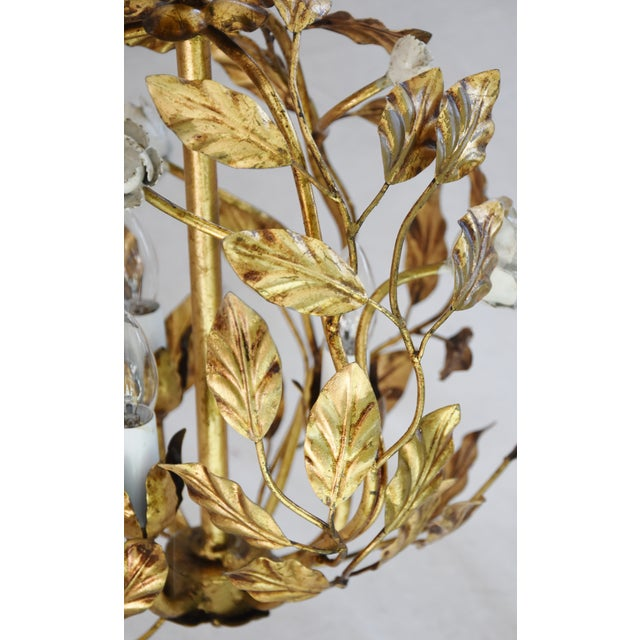Vintage Three-Arm/Light Italian Gold Gilt Ball Tole Chandelier For Sale - Image 5 of 11