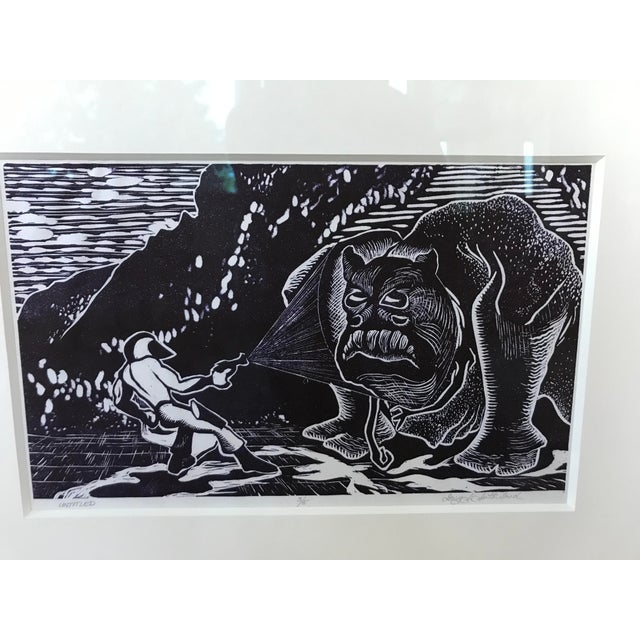 Mid-Century Modern Vintage Abstract Sci Fi Comic Block Print Lithograph For Sale - Image 3 of 8