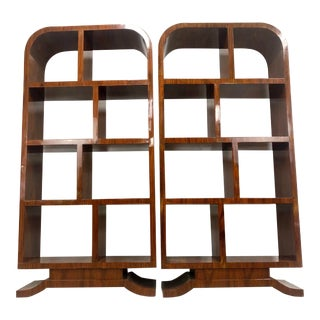 Italian Art Deco Style Bookshelves - a Pair For Sale