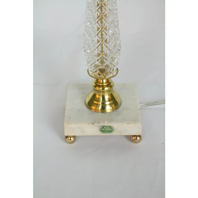 Restored Vintage Glass Table Lamp With Marble Base For Sale In Boston - Image 6 of 9
