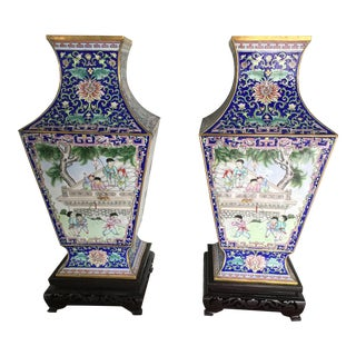 Chinese Enamel Urns on Stands - A Pair