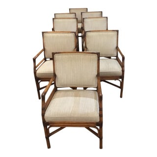 Armed Bamboo Dining Chairs - Set of 8
