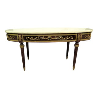 Spanish Mahogany Coffee Table With Marble Top For Sale