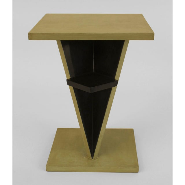 1930s French Art Deco Ebonized And Light Green Lacquered End Table For Sale - Image 5 of 6