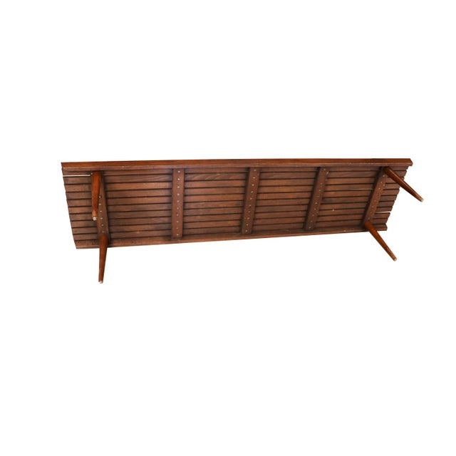 Extra Long Mid Century Slatted Wood Bench Coffee Table George Nelson Style For Sale - Image 10 of 12