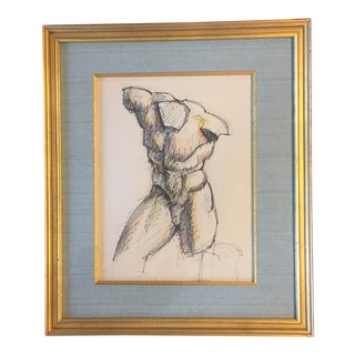 Mid Century Original Colored Sketch Male Nude