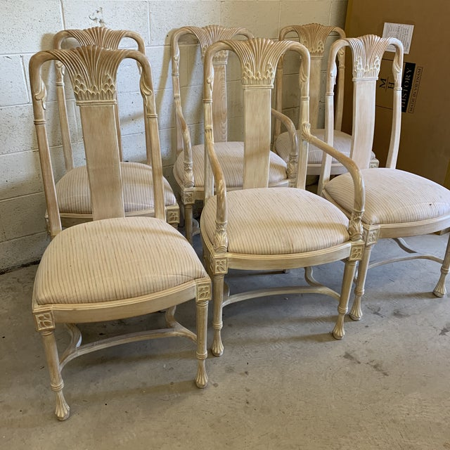 Hollywood Regency Bleached Wood Hand Carved Dining Chair's-A Set of 6 For Sale - Image 3 of 13