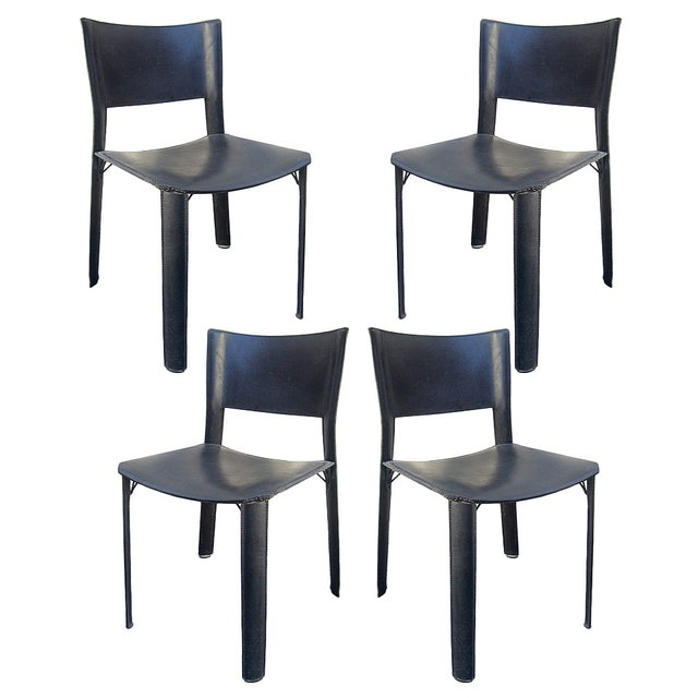 Black Leather Dining Chairs - Set of 4 - Image 1 of 6