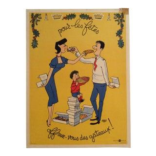 """Jacques Faisant """"Pour Les Fetes Offrez Vous Des Gateaux"""" Original Art Poster For Sale"""