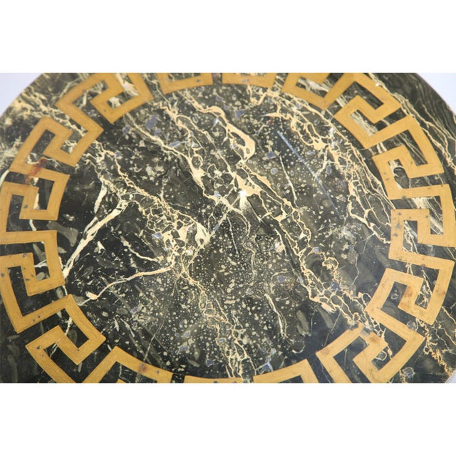 Greek Key Carved Accent Table - Image 4 of 10
