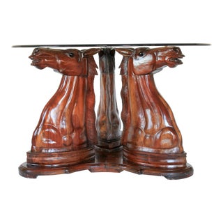 Equestrian Carved Wood Dining Table For Sale