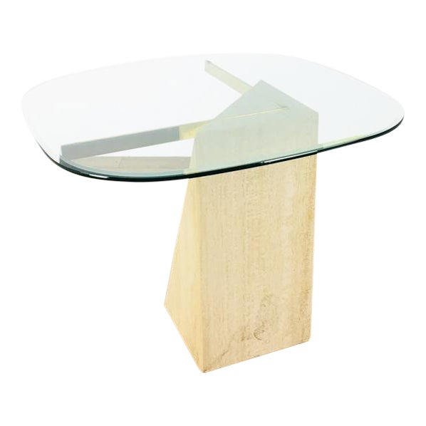Mid-Century Modern Glass & Marble End Table For Sale