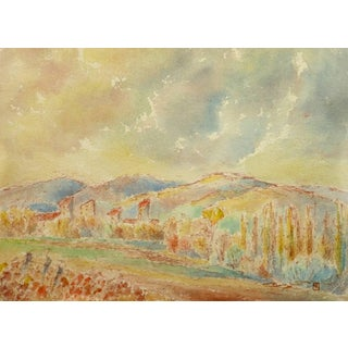 Vintage French Watercolor Landscape - Fall Colors in Provence Countryside For Sale