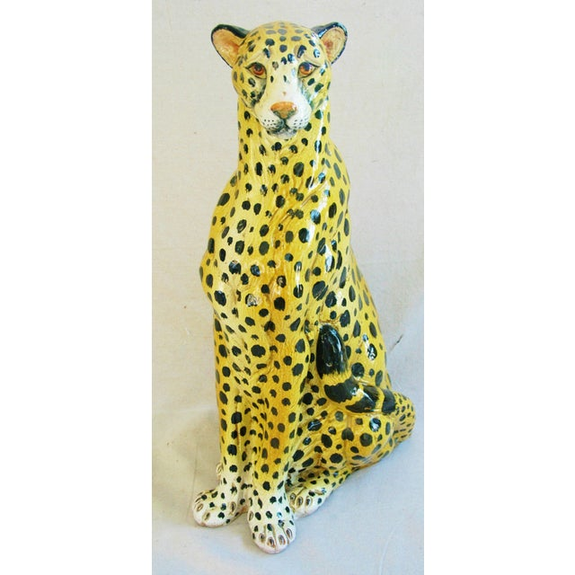 Large Hand-Painted Italain Terracotta Cheetah - Image 5 of 11
