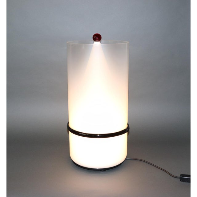 Metal Mid-Century Modern Murano Glass Table Lamp with Red Accent For Sale - Image 7 of 12