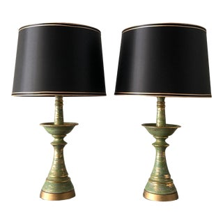Mid-Century Brushed Glaze Lamps - a Pair For Sale
