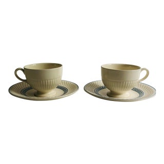 Mismatch Tea Cups & Saucers Wedgwood Cups / Spode's Saucers - Service for 2 For Sale