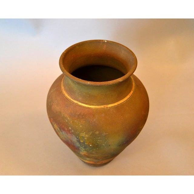 American Signed Mid-Century Modern Brown, Blue & Gold American Raku Vase, Vessel, Urn For Sale - Image 3 of 13